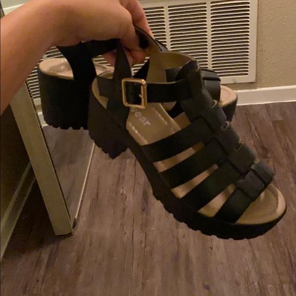 Shoes - Black caged platform sandals